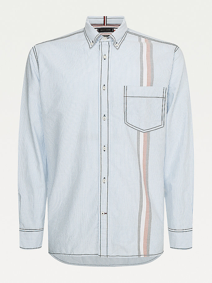 blue icons ithaca stripe relaxed fit shirt for men tommy hilfiger