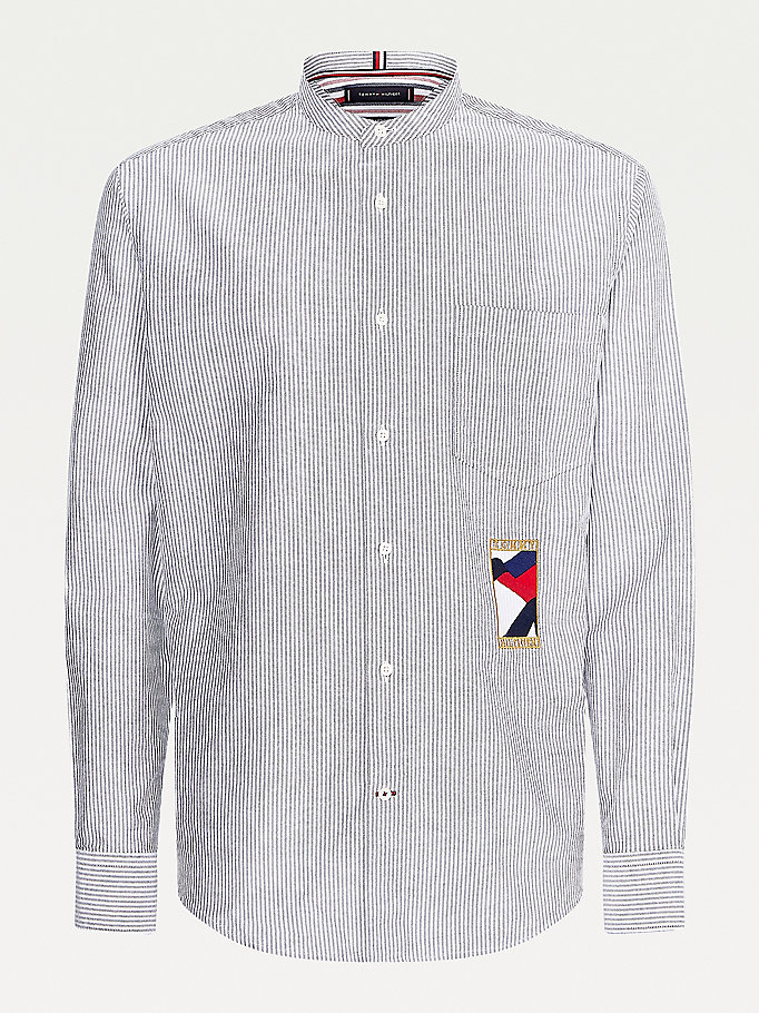 white ithaca stripe relaxed fit oxford shirt for men tommy hilfiger