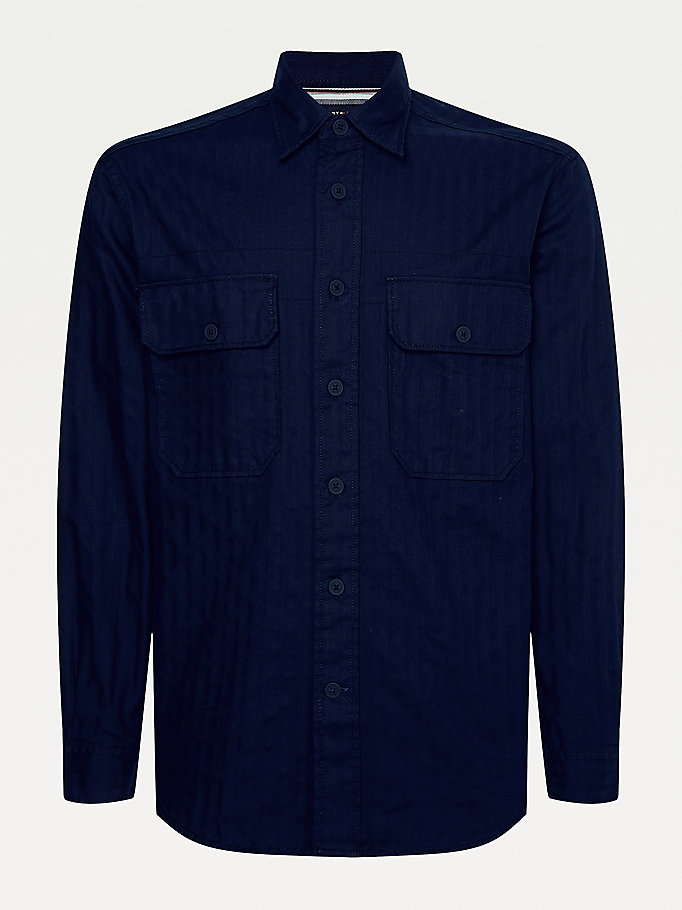 blue tonal herringbone relaxed utility overshirt for men tommy hilfiger