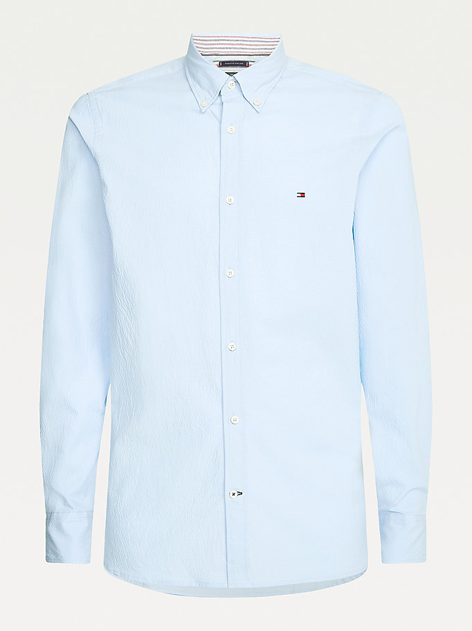 blue th flex seersucker slim fit shirt for men tommy hilfiger