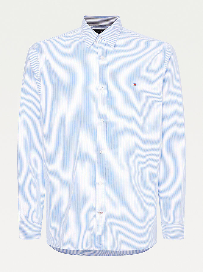 blue fine stripe seersucker slim fit shirt for men tommy hilfiger