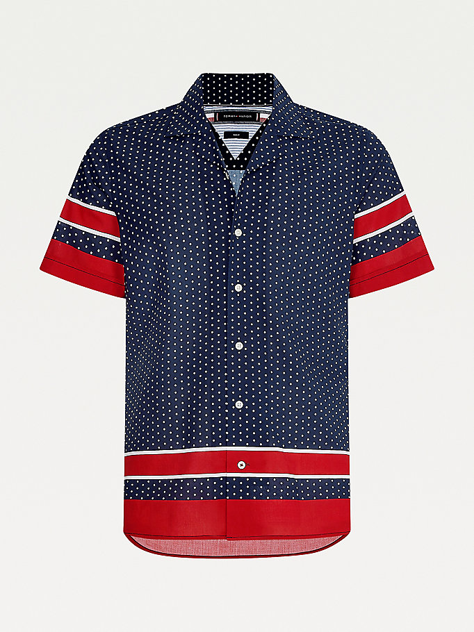 blue dot slim fit short sleeve shirt for men tommy hilfiger
