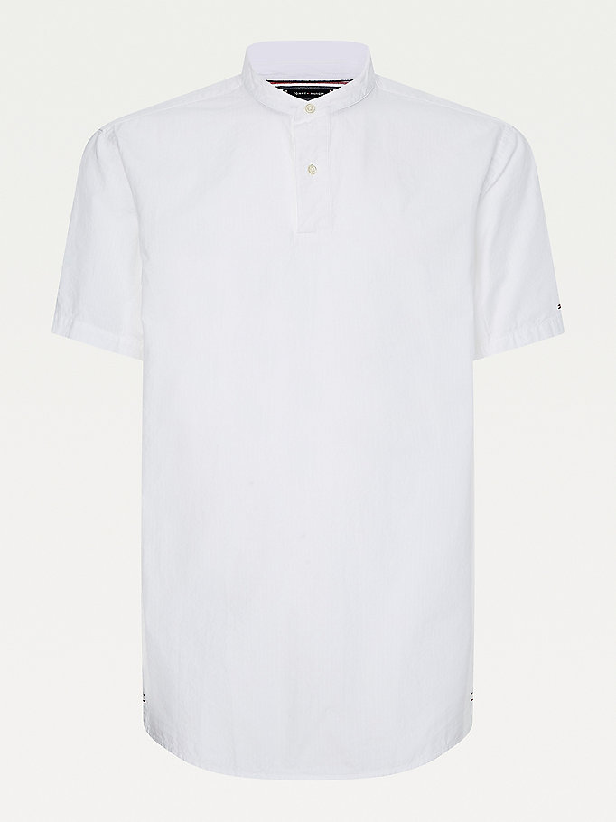white seersucker short sleeve relaxed fit shirt for men tommy hilfiger