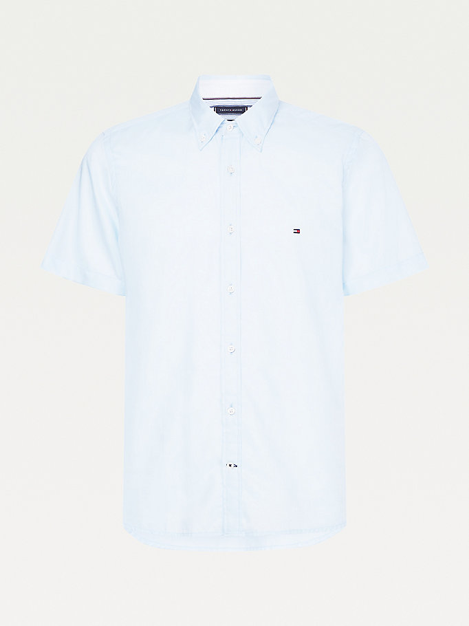 blue monogram slim fit short sleeve shirt for men tommy hilfiger