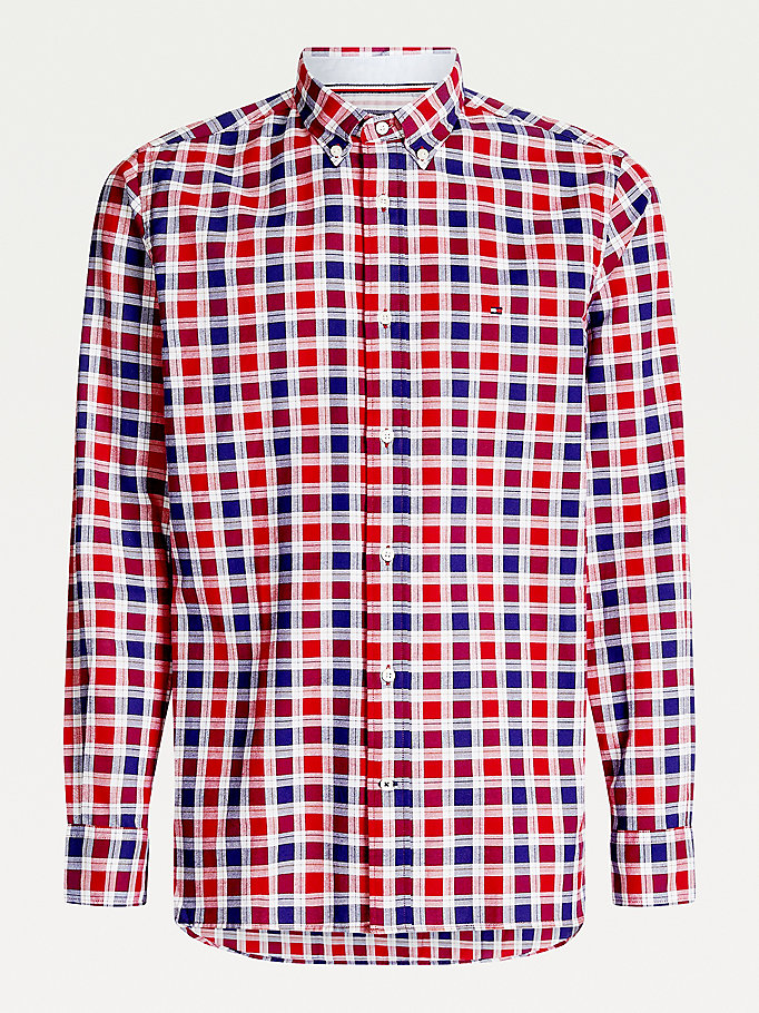 camicia oxford regular fit a quadri rosso da uomo tommy hilfiger