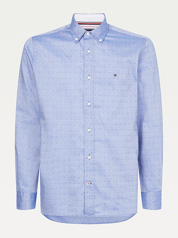 camicia oxford regular fit a pois in rilievo blu da uomo tommy hilfiger