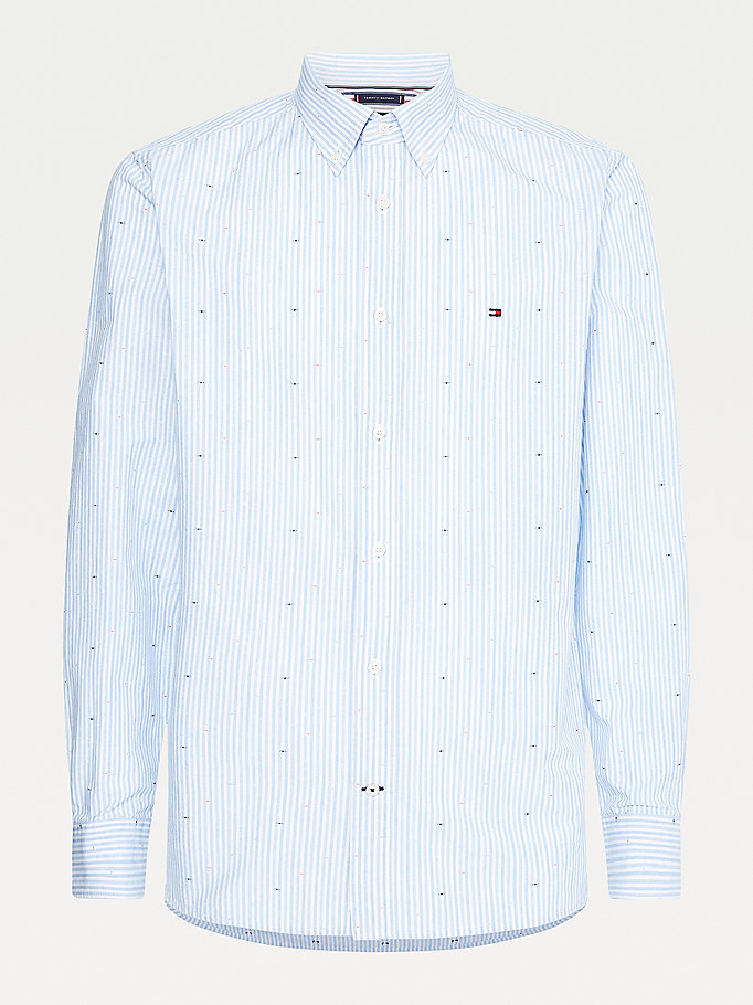blue fil coupe stripe regular fit shirt for men tommy hilfiger