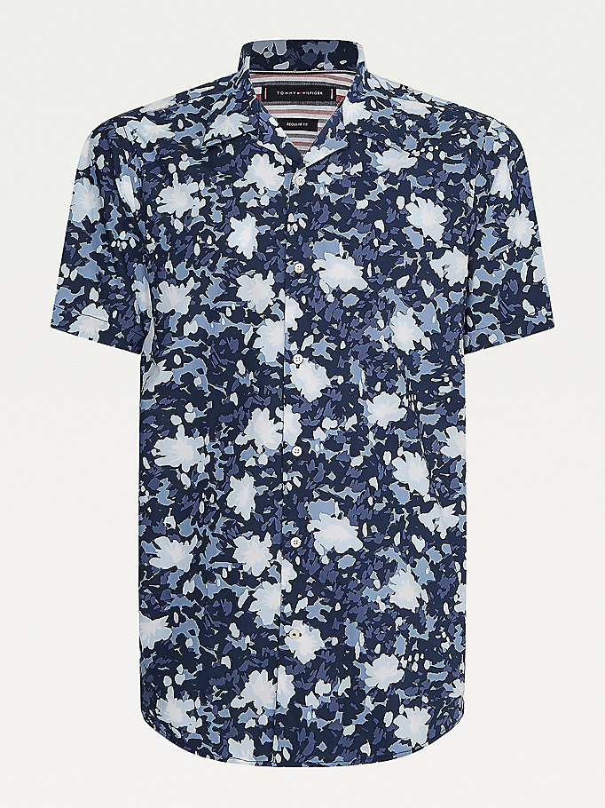 blue camo regular fit short sleeve shirt for men tommy hilfiger