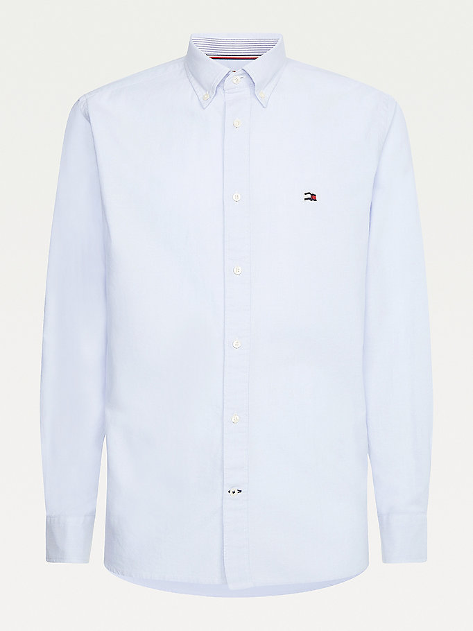 blue classic regular fit oxford shirt for men tommy hilfiger