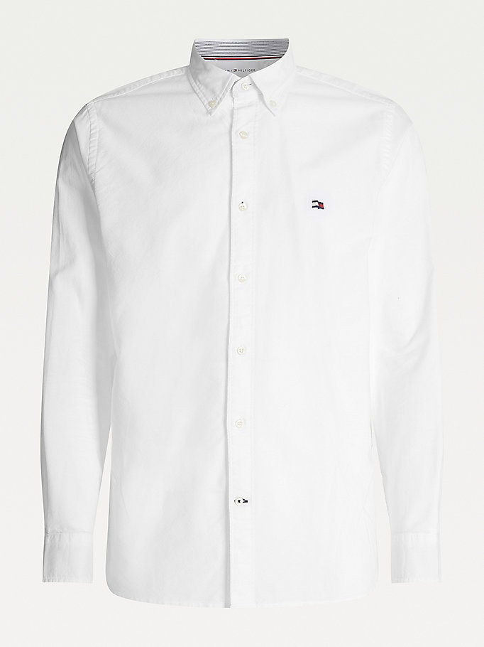 wit klassiek regular fit oxford-overhemd voor heren - tommy hilfiger