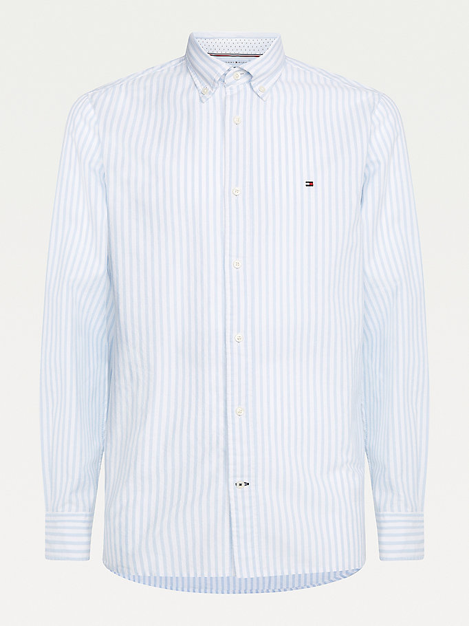 blue stripe regular fit oxford shirt for men tommy hilfiger