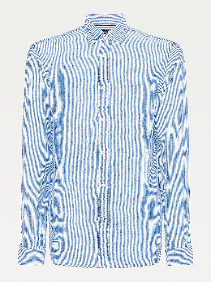 blue ithaca stripe regular fit linen shirt for men tommy hilfiger