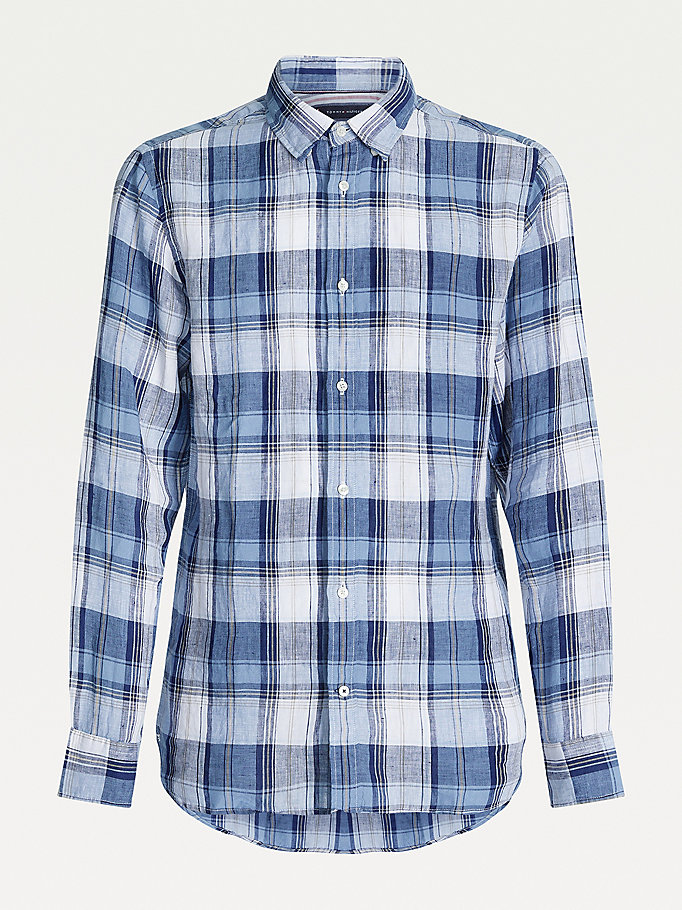 blue tartan check regular fit linen shirt for men tommy hilfiger