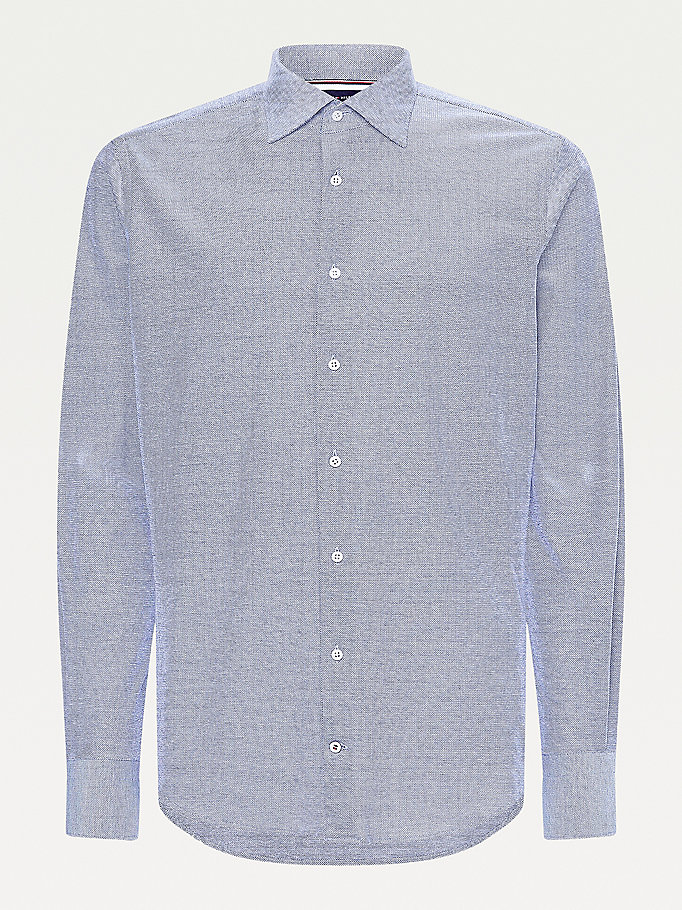 blue elevated linen blend slim fit shirt for men tommy hilfiger