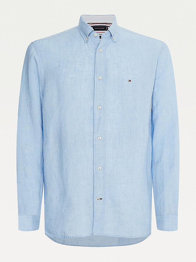 blue pigment dye slim fit linen shirt for men tommy hilfiger