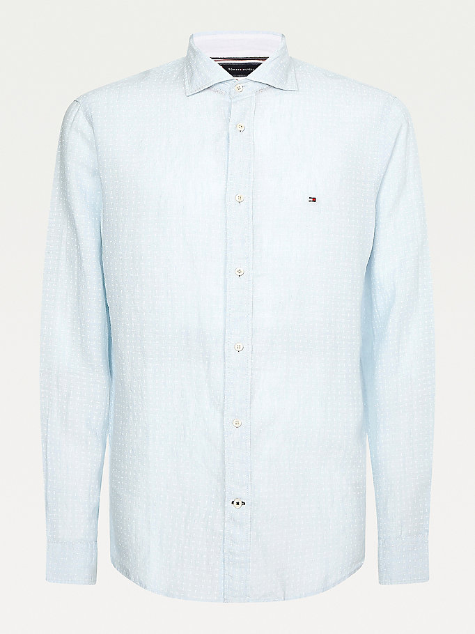 blue double dot regular fit linen shirt for men tommy hilfiger