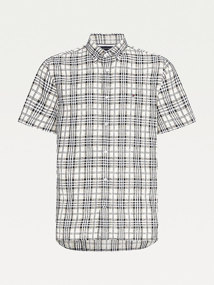 beige check short sleeve regular fit shirt for men tommy hilfiger