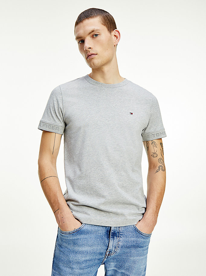 grey classic flag embroidery t-shirt for men tommy hilfiger