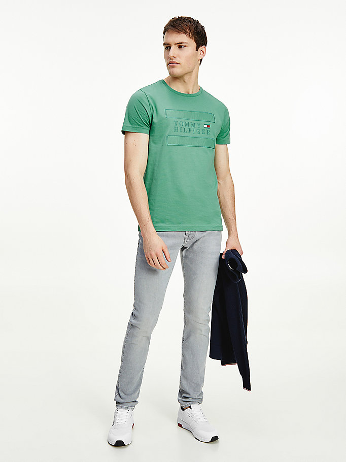 green tonal logo organic cotton t-shirt for men tommy hilfiger