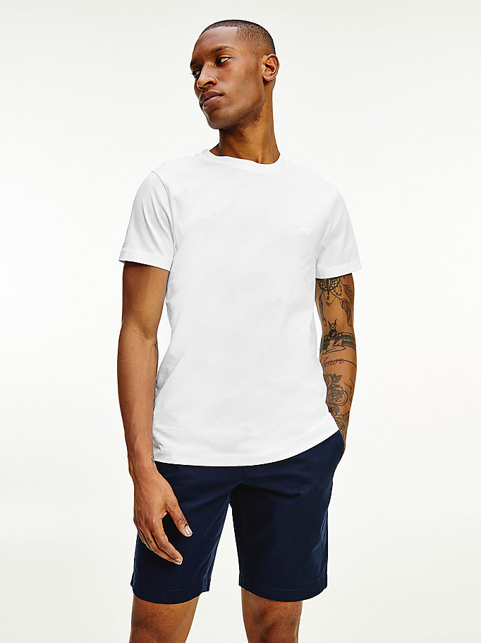 white organic cotton flag embroidery t-shirt for men tommy hilfiger