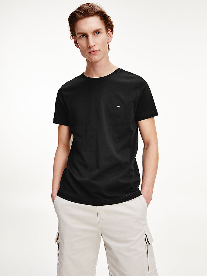 black organic cotton back logo t-shirt for men tommy hilfiger