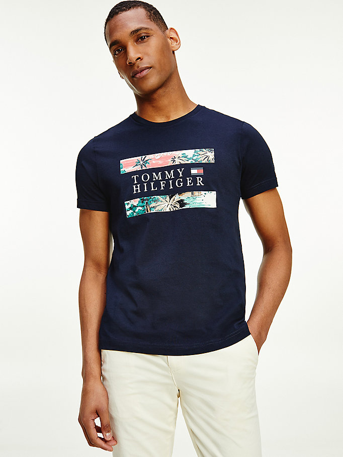 blue hawaiian print organic cotton flag t-shirt for men tommy hilfiger