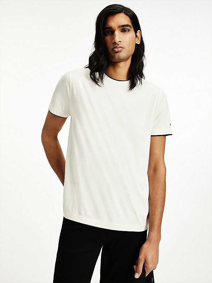 white elevated cotton silk t-shirt for men tommy hilfiger
