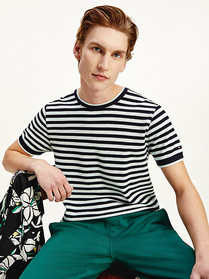 blue elevated textured stripe t-shirt for men tommy hilfiger