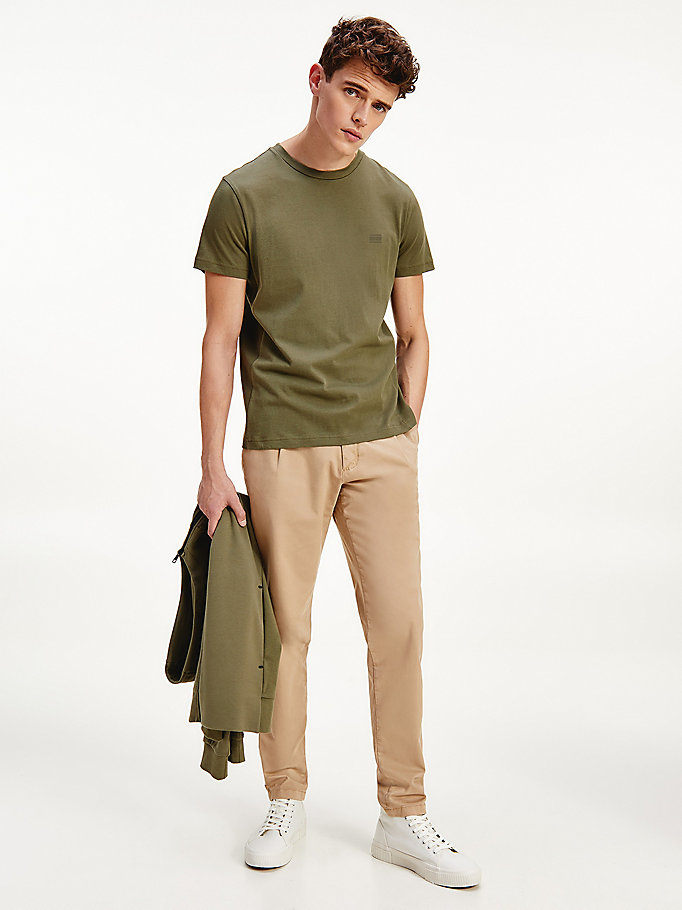 t-shirt essential in puro cotone verde da men tommy hilfiger