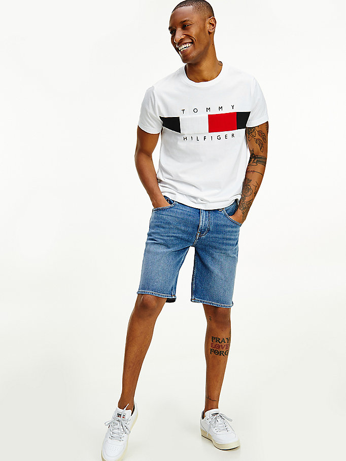 white textured flag t-shirt for men tommy hilfiger