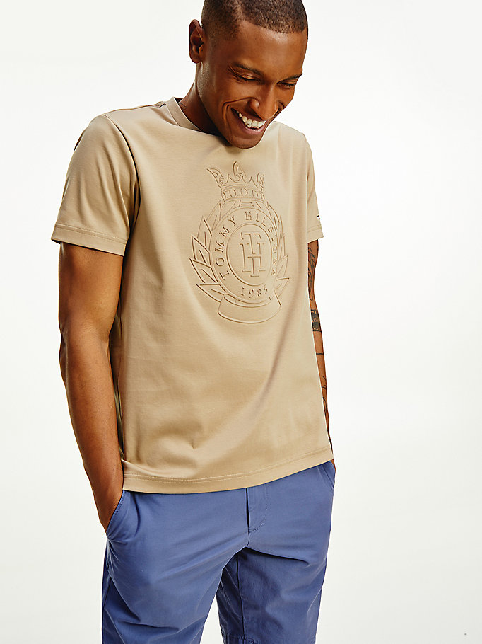 beige luxury embossed logo t-shirt for men tommy hilfiger