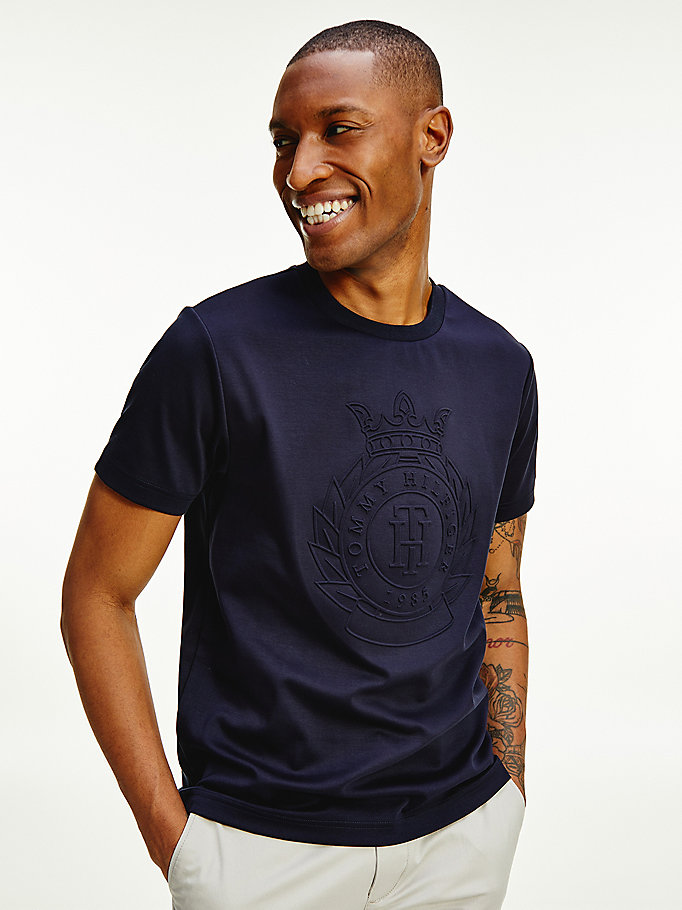 blue luxury embossed logo t-shirt for men tommy hilfiger