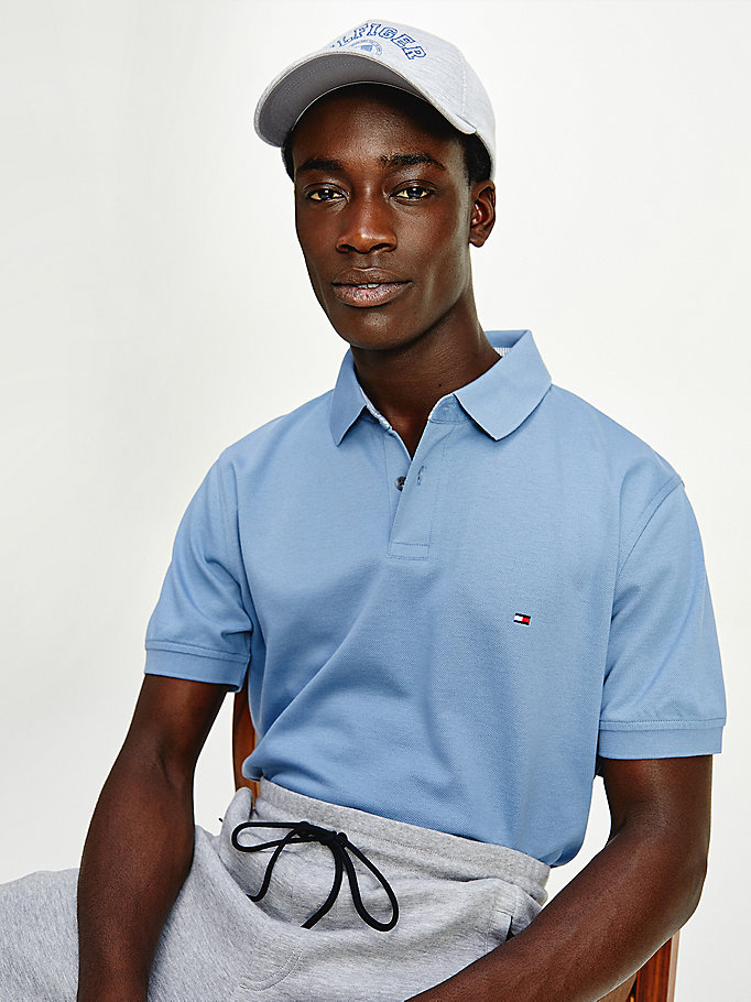 blue 1985 regular fit polo for men tommy hilfiger