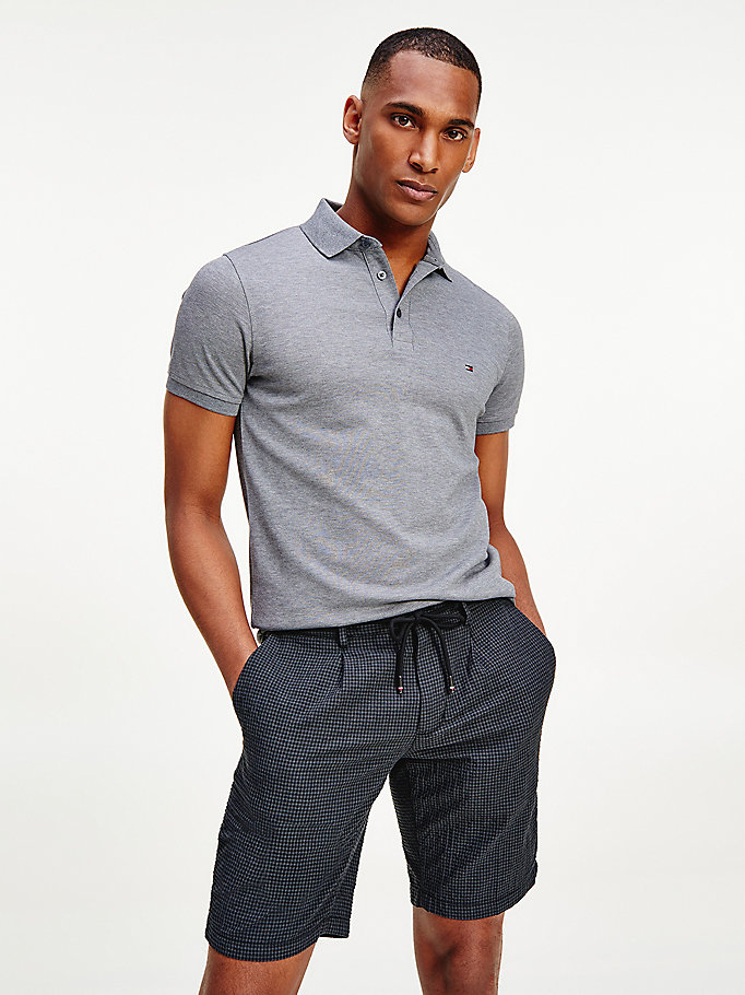 grey 1985 slim fit polo for men tommy hilfiger