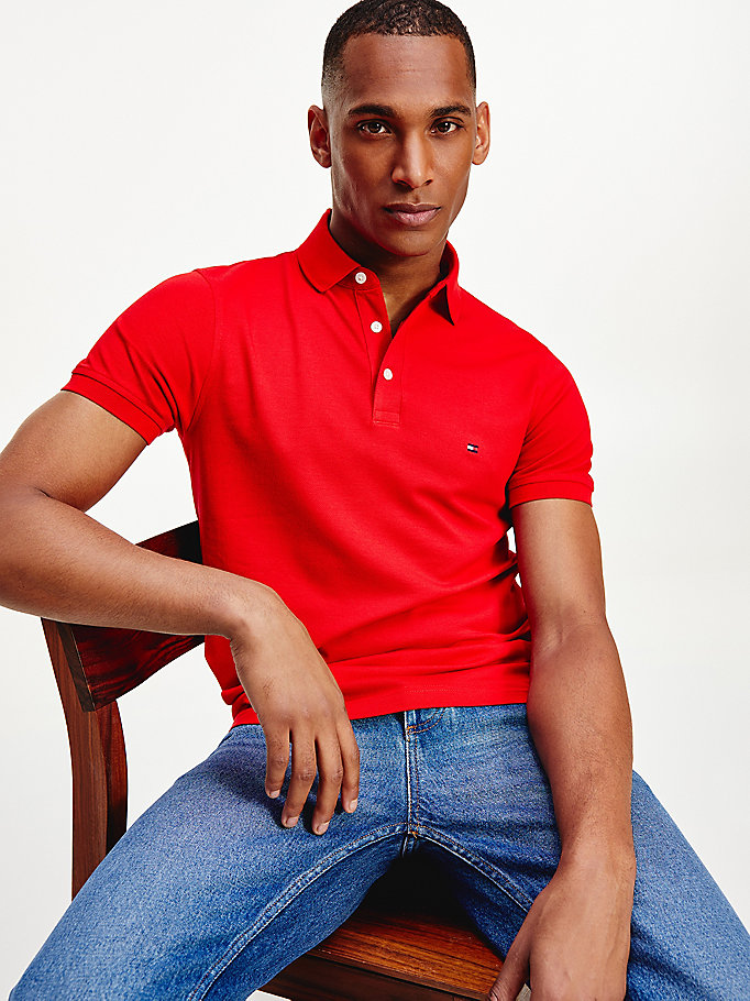 orange 1985 slim fit polo for men tommy hilfiger