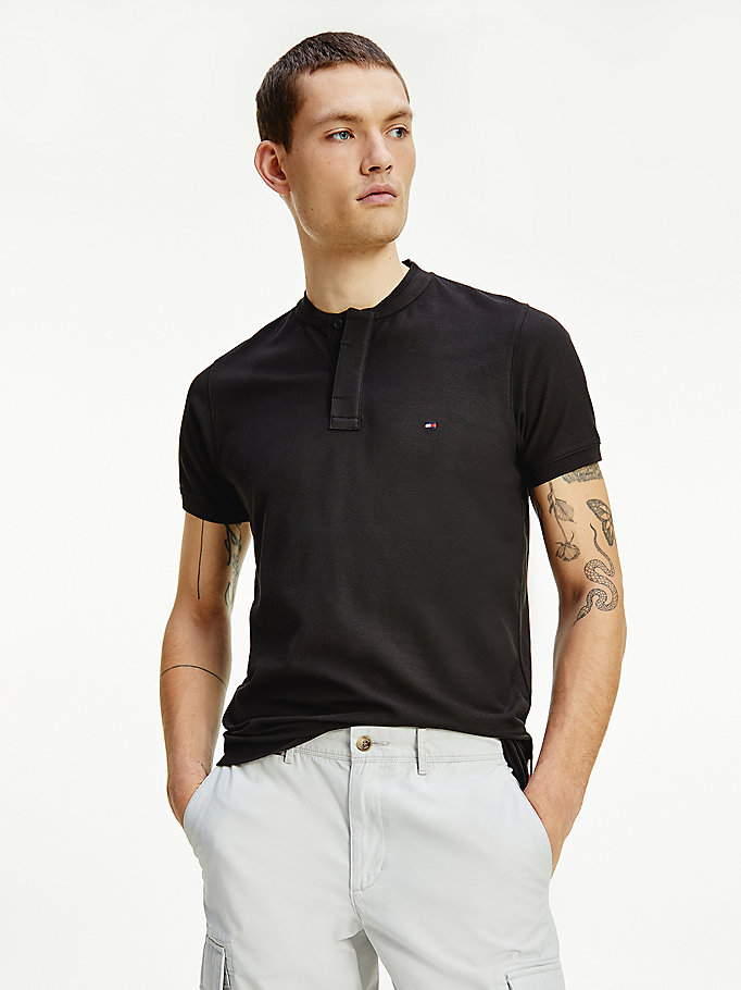 black th cool baseball collar slim fit polo for men tommy hilfiger
