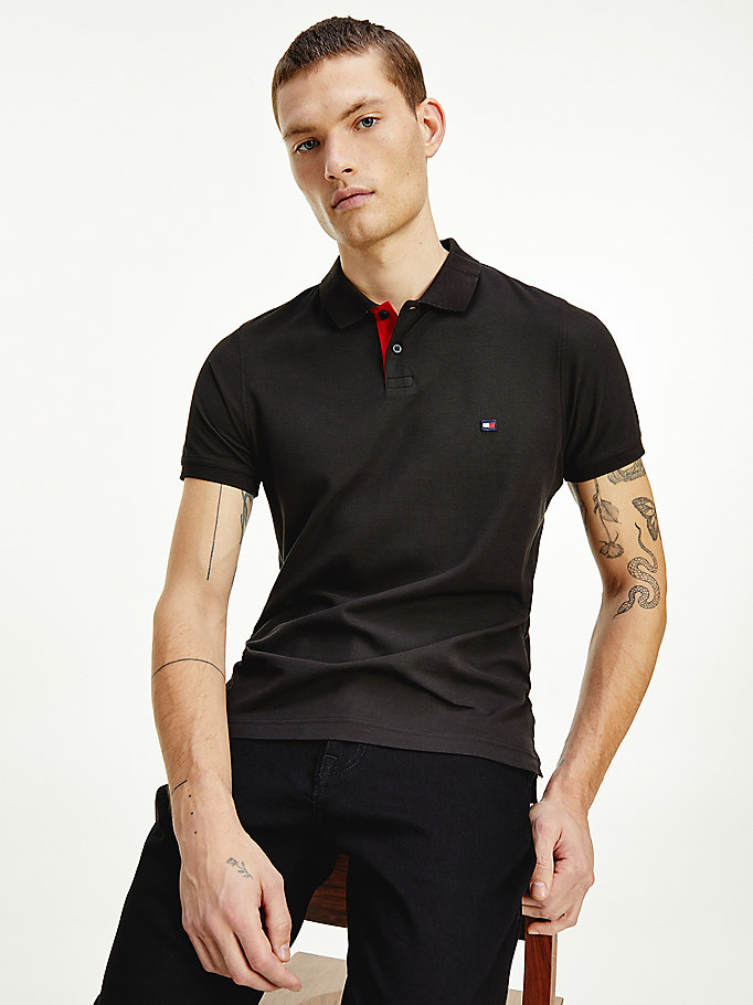 black contrast placket slim fit polo for men tommy hilfiger