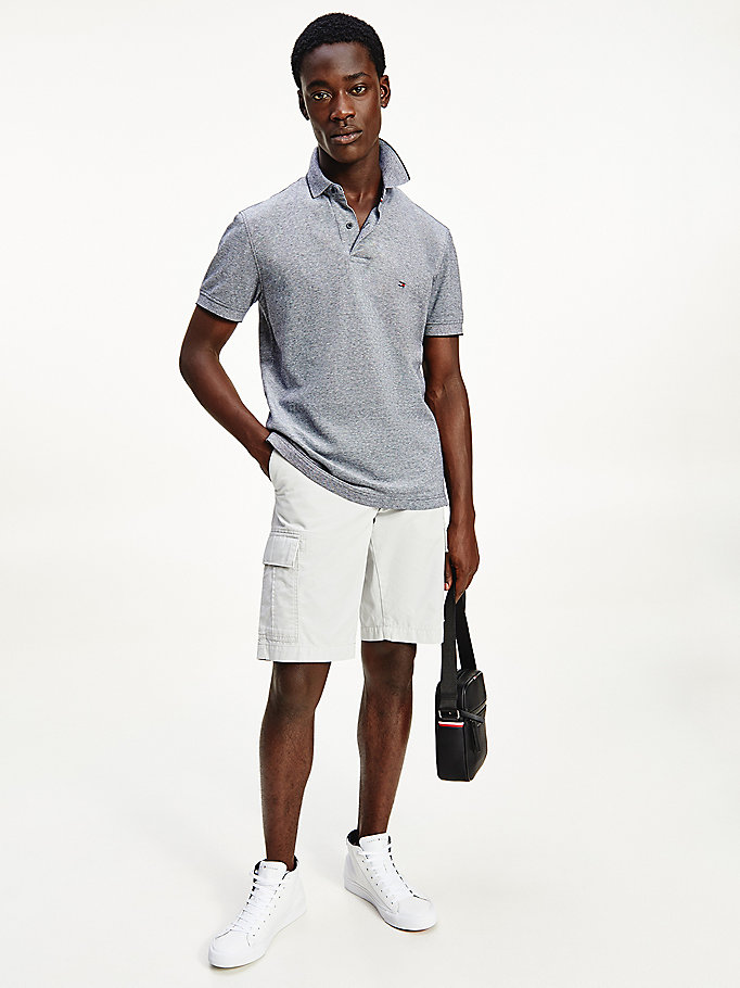 polo regular fit con bandierina ricamata blu da uomo tommy hilfiger