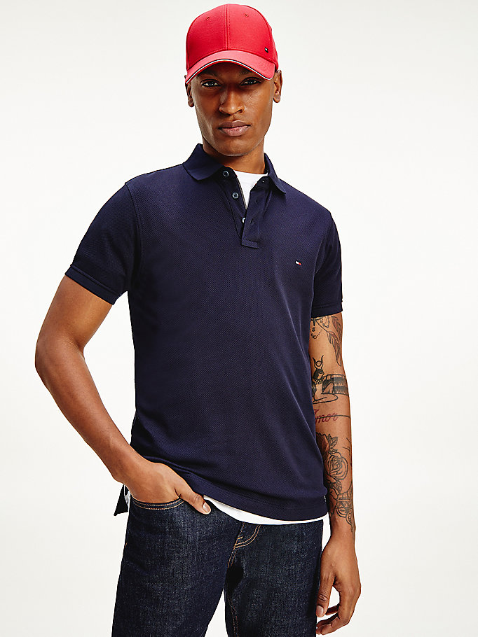blue jacquard flag embroidery slim fit polo for men tommy hilfiger