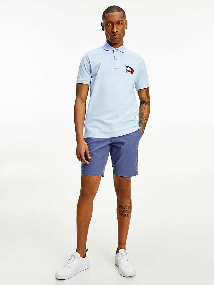 blue 1985 flag cotton polo for men tommy hilfiger