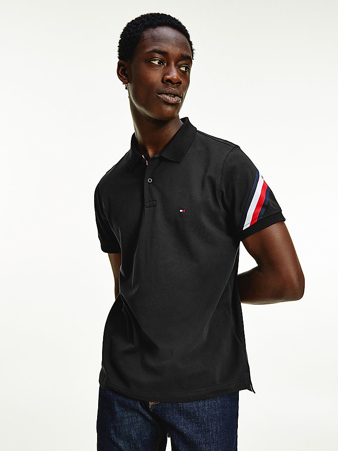 black signature detail slim fit polo for men tommy hilfiger