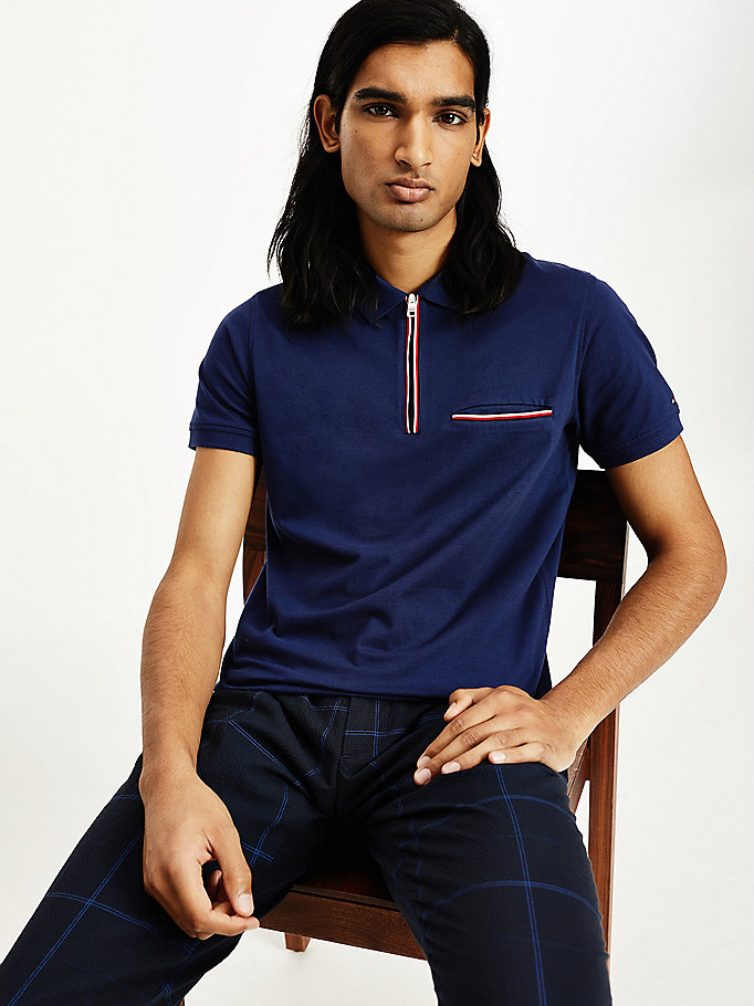 blue zip placket slim fit polo for men tommy hilfiger