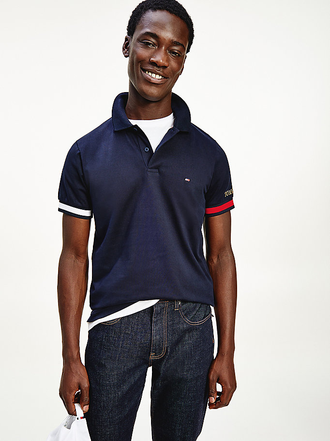 blue logo embroidery cuff slim fit polo for men tommy hilfiger