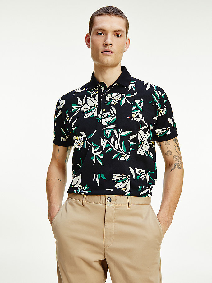 black patchwork floral print polo for men tommy hilfiger