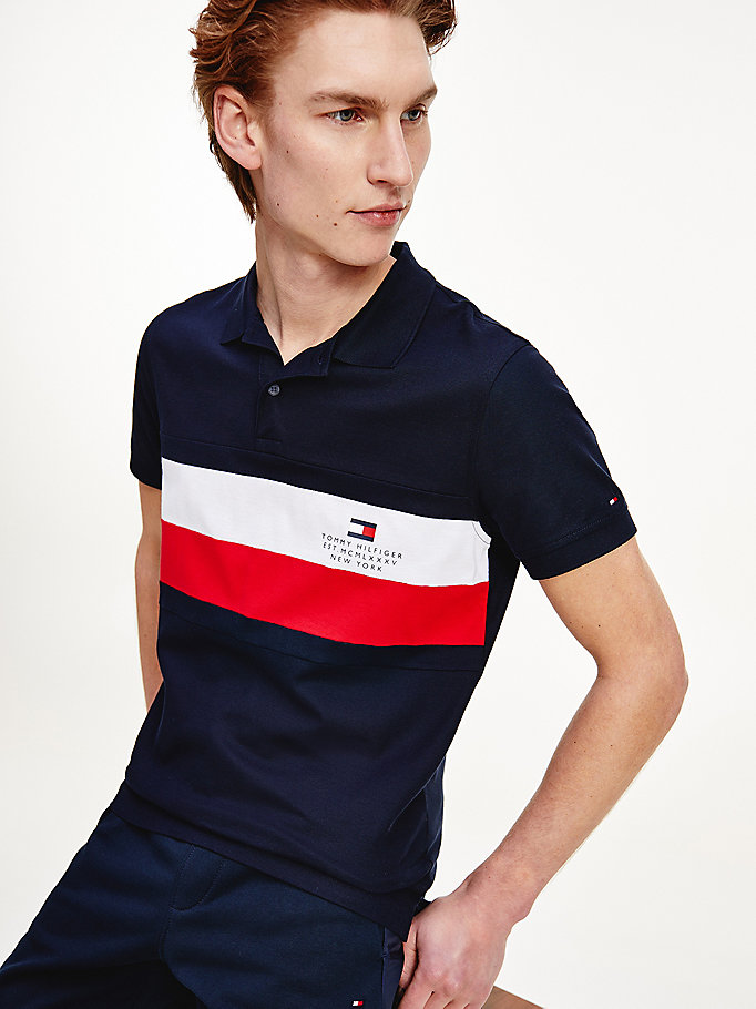 blau th cool slim fit poloshirt für herren - tommy hilfiger