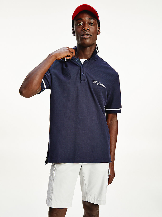 blue tipped signature logo polo for men tommy hilfiger
