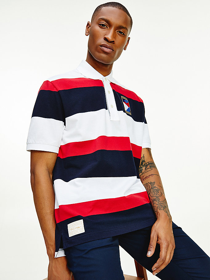 white colour-blocked pure cotton polo for men tommy hilfiger