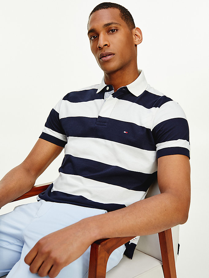 blue rugby stripe cotton polo for men tommy hilfiger