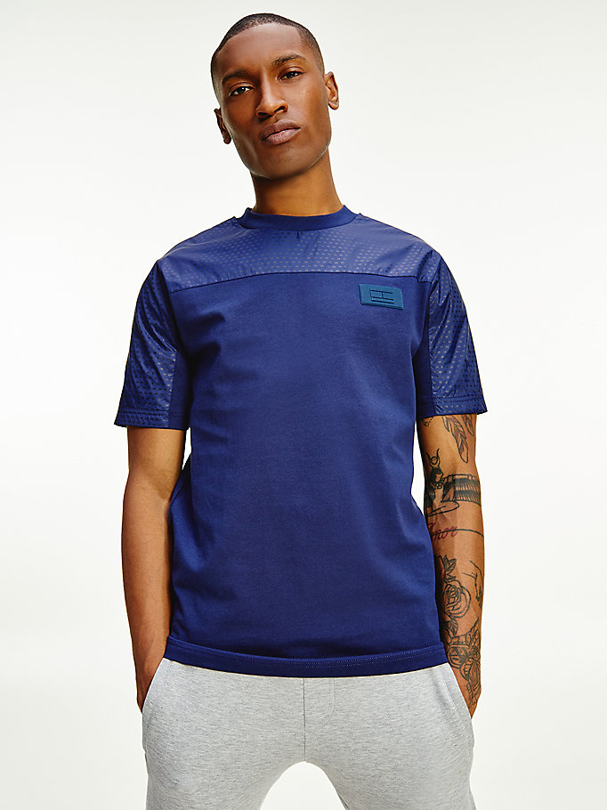blue th signature mixed texture cotton t-shirt for men tommy hilfiger