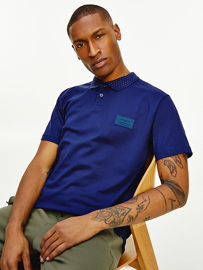 blauw th signature polo voor heren - tommy hilfiger
